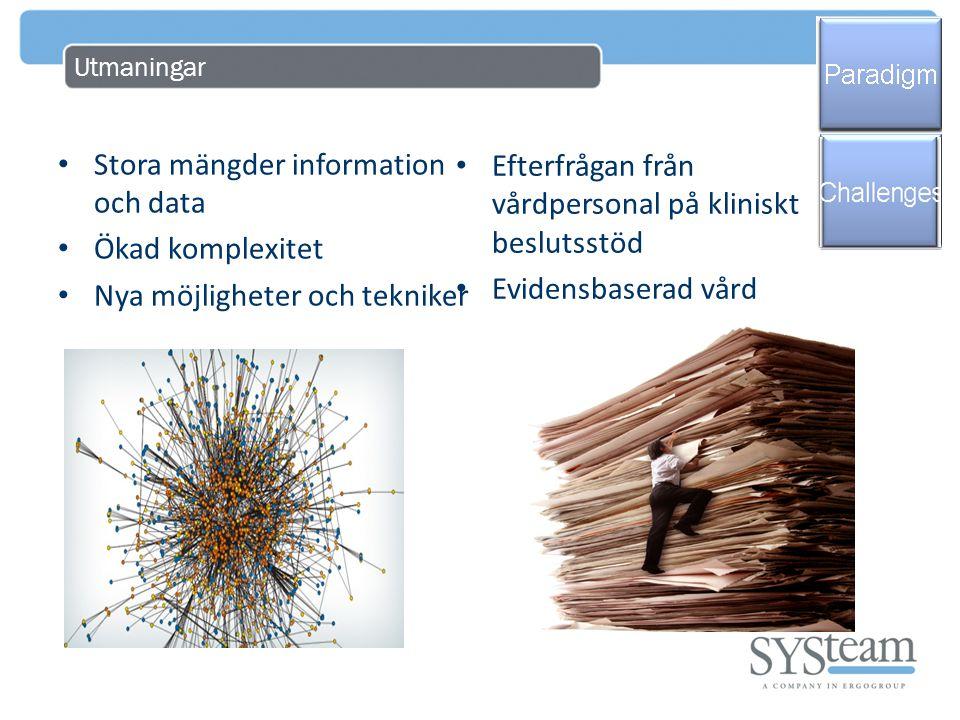 Utmaningar • Stora mängder information och data • Ökad komplexitet • Nya möjligheter och tekniker • Efterfrågan från vårdpersonal på kliniskt beslutss