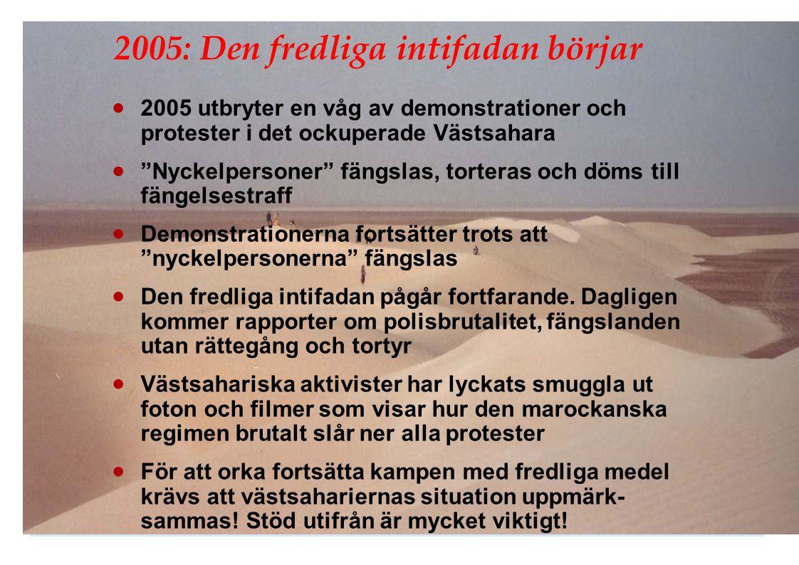 """2005: Den fredliga intifadan börjar  2005 utbryter en våg av demonstrationer och protester i det ockuperade Västsahara  """"Nyckelpersoner"""" fängslas, t"""