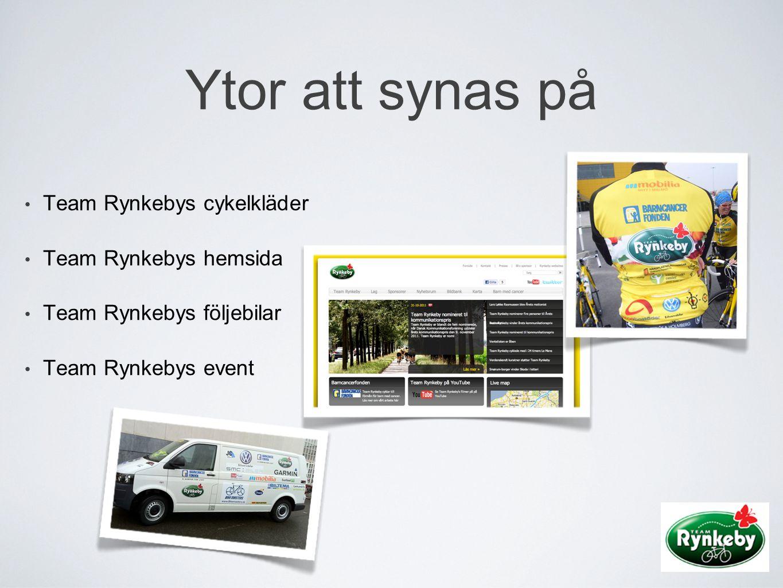 Ytor att synas på • Team Rynkebys cykelkläder • Team Rynkebys hemsida • Team Rynkebys följebilar • Team Rynkebys event
