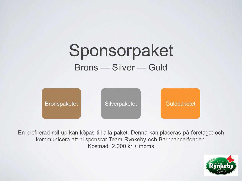 Sponsorpaket Brons — Silver — Guld BronspaketetSilverpaketetGuldpaketet En profilerad roll-up kan köpas till alla paket. Denna kan placeras på företag