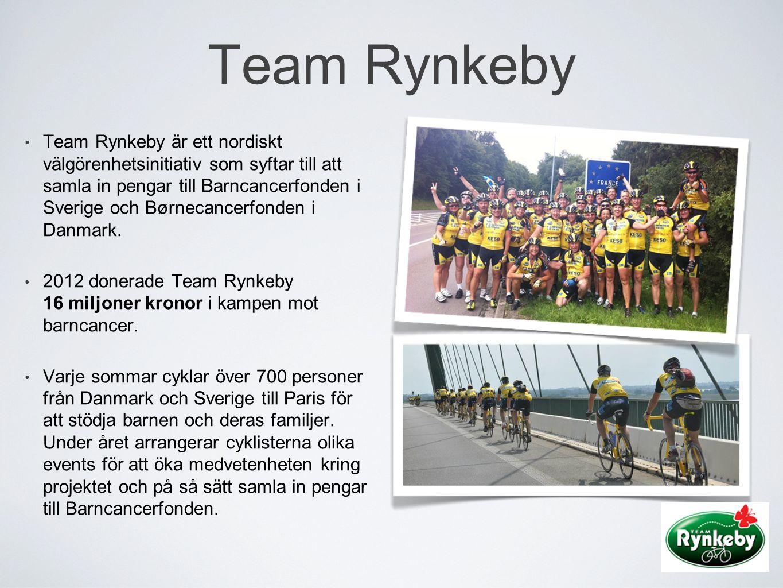 • Team Rynkeby är ett nordiskt välgörenhetsinitiativ som syftar till att samla in pengar till Barncancerfonden i Sverige och Børnecancerfonden i Danma