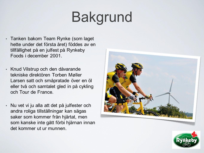 Bakgrund • Tanken bakom Team Rynke (som laget hette under det första året) föddes av en tillfällighet på en julfest på Rynkeby Foods i december 2001.