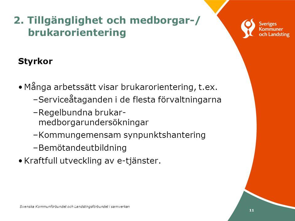 Svenska Kommunförbundet och Landstingsförbundet i samverkan 11 Styrkor •Många arbetssätt visar brukarorientering, t.ex. –Serviceåtaganden i de flesta
