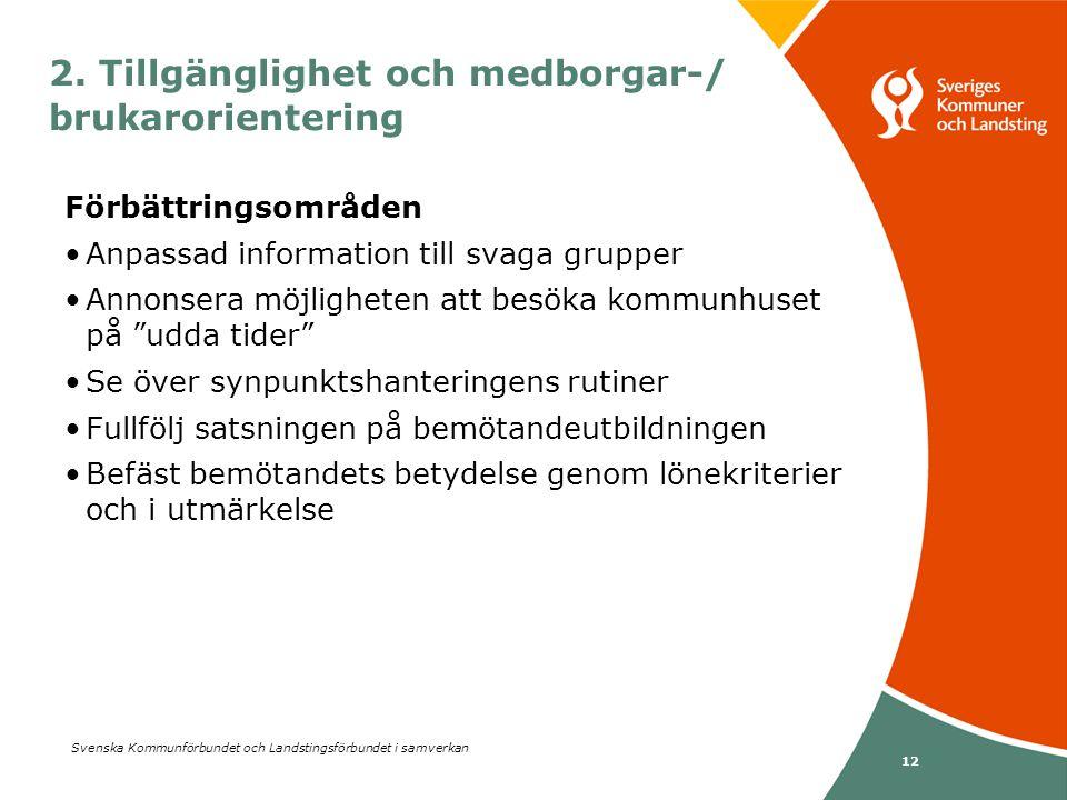 Svenska Kommunförbundet och Landstingsförbundet i samverkan 12 Förbättringsområden •Anpassad information till svaga grupper •Annonsera möjligheten att