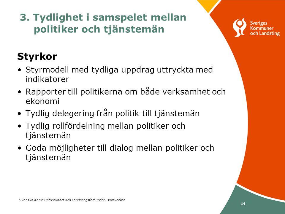 Svenska Kommunförbundet och Landstingsförbundet i samverkan 14 Styrkor •Styrmodell med tydliga uppdrag uttryckta med indikatorer •Rapporter till polit