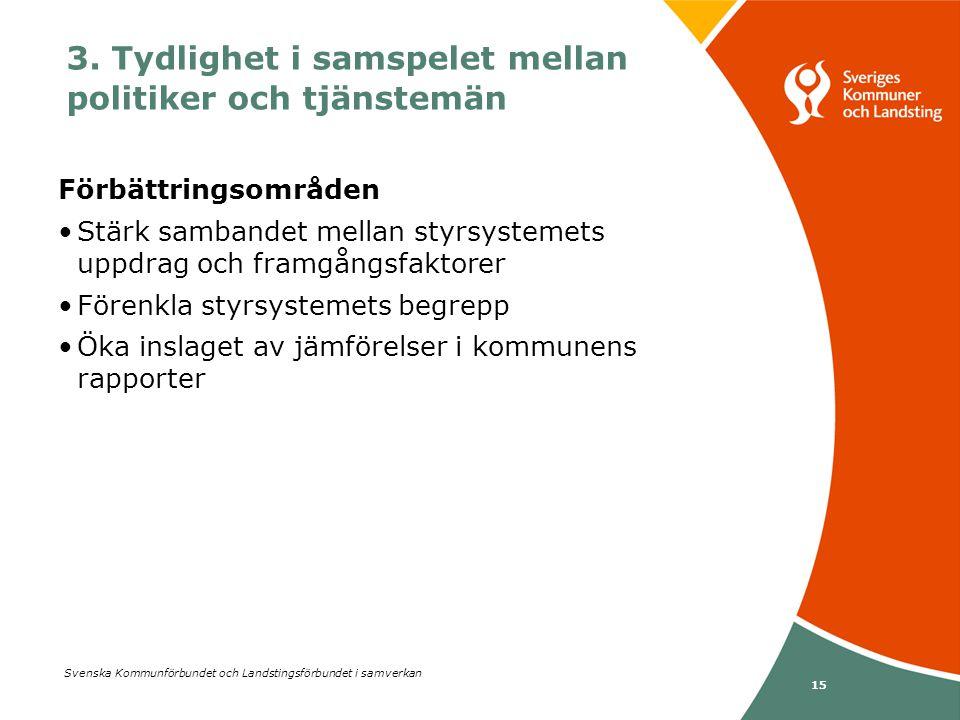 Svenska Kommunförbundet och Landstingsförbundet i samverkan 15 Förbättringsområden •Stärk sambandet mellan styrsystemets uppdrag och framgångsfaktorer