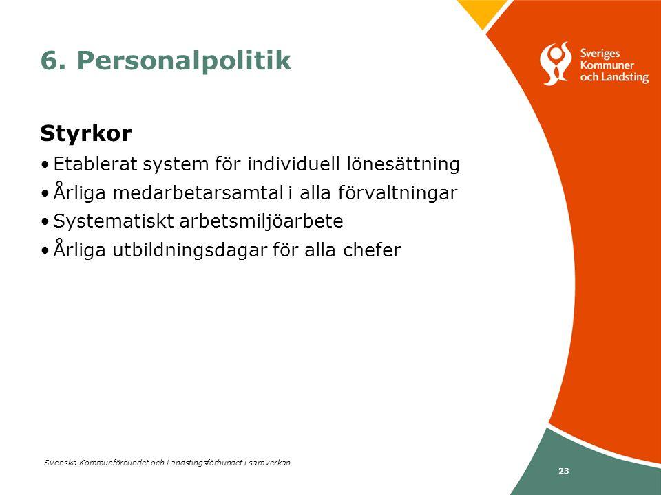 Svenska Kommunförbundet och Landstingsförbundet i samverkan 23 Styrkor •Etablerat system för individuell lönesättning •Årliga medarbetarsamtal i alla