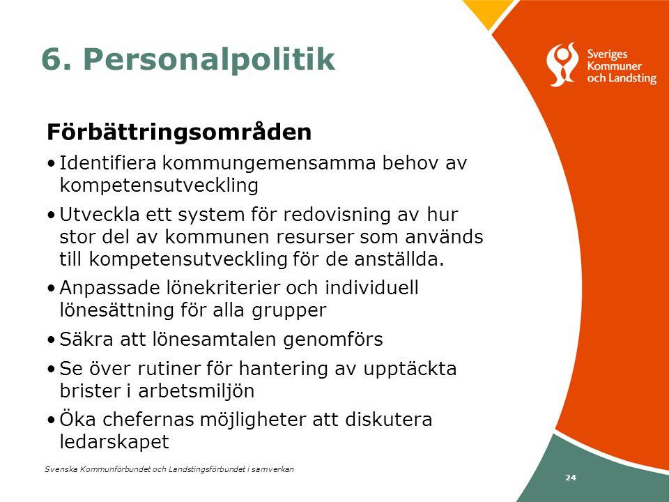 Svenska Kommunförbundet och Landstingsförbundet i samverkan 24 6. Personalpolitik Förbättringsområden •Identifiera kommungemensamma behov av kompetens