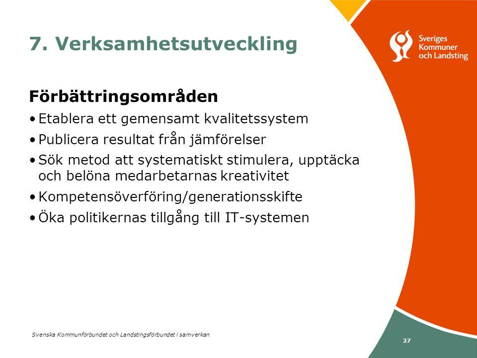 Svenska Kommunförbundet och Landstingsförbundet i samverkan 27 7. Verksamhetsutveckling Förbättringsområden •Etablera ett gemensamt kvalitetssystem •P