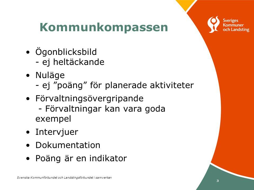 """Svenska Kommunförbundet och Landstingsförbundet i samverkan 3 •Ögonblicksbild - ej heltäckande •Nuläge - ej """"poäng"""" för planerade aktiviteter •Förvalt"""