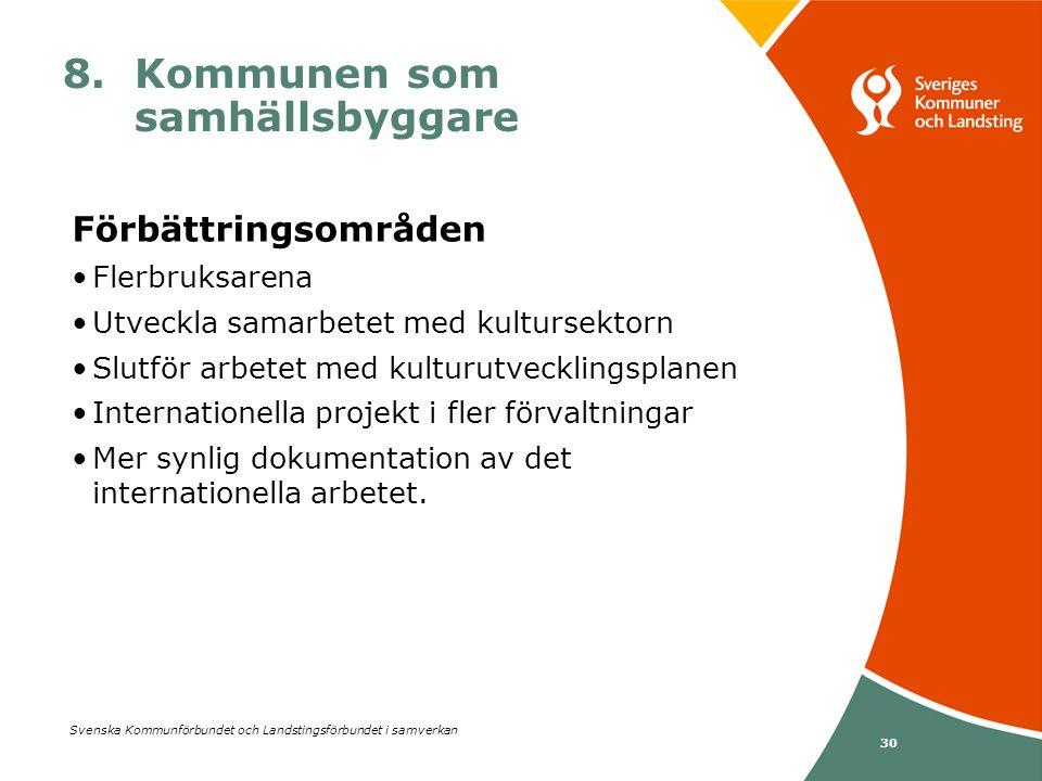Svenska Kommunförbundet och Landstingsförbundet i samverkan 30 8. Kommunen som samhällsbyggare Förbättringsområden •Flerbruksarena •Utveckla samarbete