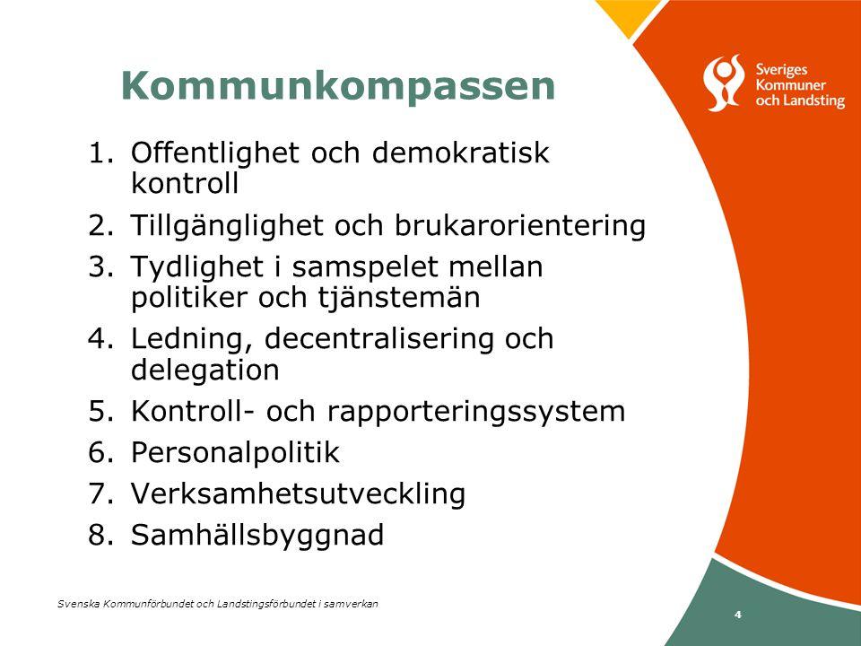 Svenska Kommunförbundet och Landstingsförbundet i samverkan 4 1.Offentlighet och demokratisk kontroll 2.Tillgänglighet och brukarorientering 3.Tydligh