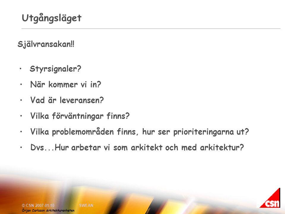 © CSN 2007-01-10SWEAN Örjan Carlsson Arkitekturenheten Utgångsläget •Styrsignaler.