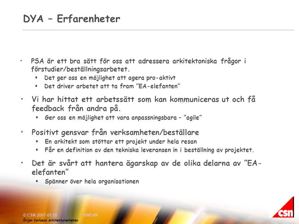 © CSN 2007-01-10SWEAN Örjan Carlsson Arkitekturenheten DYA – Erfarenheter •PSA är ett bra sätt för oss att adressera arkitektoniska frågor i förstudier/beställningsarbetet.