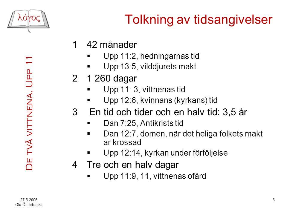 De två vittnena, Upp 11 27.5.2006 Ola Österbacka 17 Avslutning, 11:14 14Det andra veropet är över.
