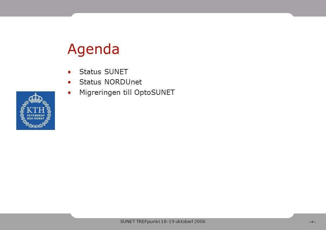 SUNET TREFpunkt 18-19 oktoberl 2006 2 Agenda •Status SUNET •Status NORDUnet •Migreringen till OptoSUNET