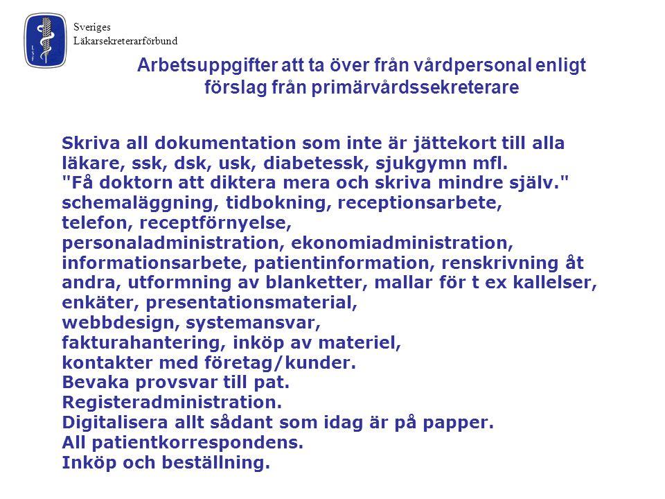 Sveriges Läkarsekreterarförbund Skriva all dokumentation som inte är jättekort till alla läkare, ssk, dsk, usk, diabetessk, sjukgymn mfl.