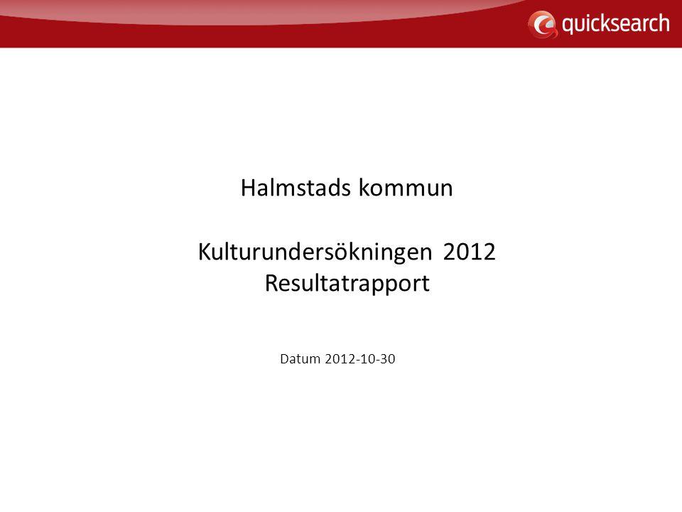2 Halmstads kommun Kulturförvaltningen, Kulturundersökningen 2012, Rapport 2012-10-30 Innehåll s.