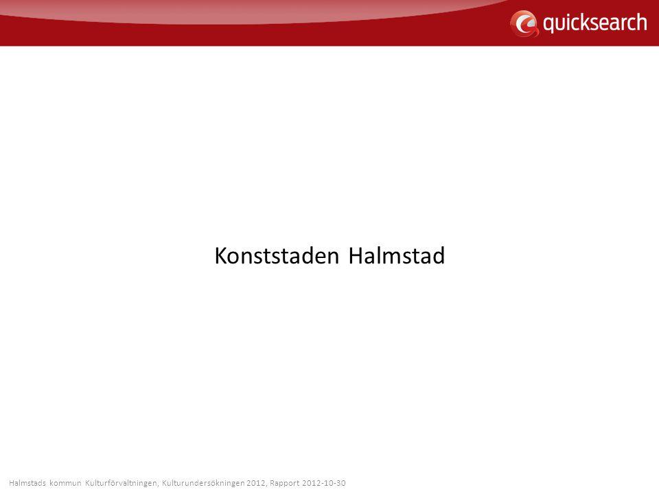 Konststaden Halmstad Halmstads kommun Kulturförvaltningen, Kulturundersökningen 2012, Rapport 2012-10-30