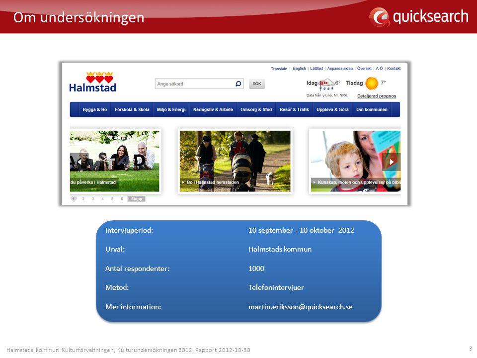 3 Om undersökningen Halmstads kommun Kulturförvaltningen, Kulturundersökningen 2012, Rapport 2012-10-30 Intervjuperiod: 10 september - 10 oktober 2012