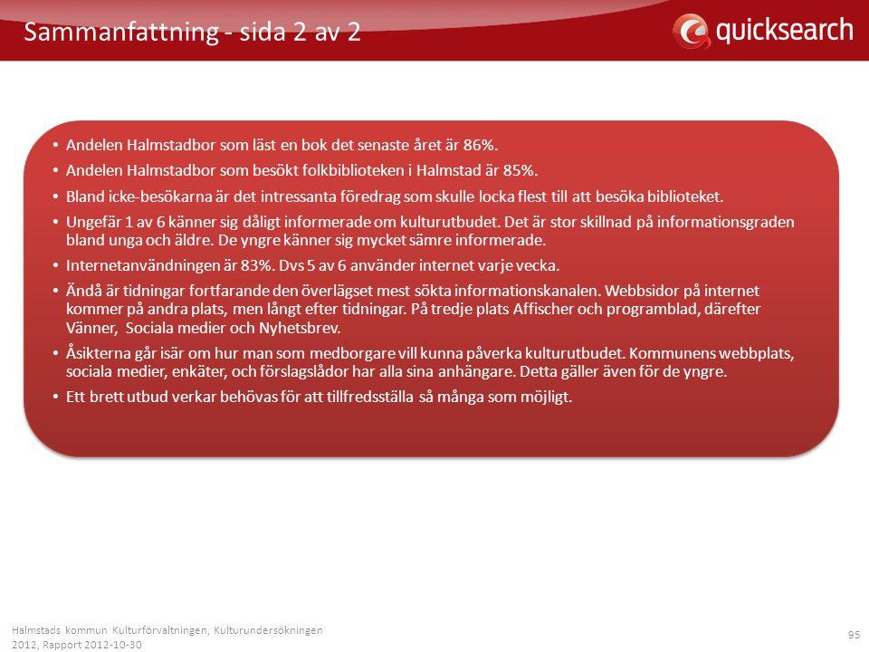 95 Halmstads kommun Kulturförvaltningen, Kulturundersökningen 2012, Rapport 2012-10-30 Sammanfattning - sida 2 av 2 • Andelen Halmstadbor som läst en