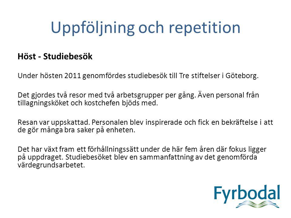 Höst - Studiebesök Under hösten 2011 genomfördes studiebesök till Tre stiftelser i Göteborg. Det gjordes två resor med två arbetsgrupper per gång. Äve
