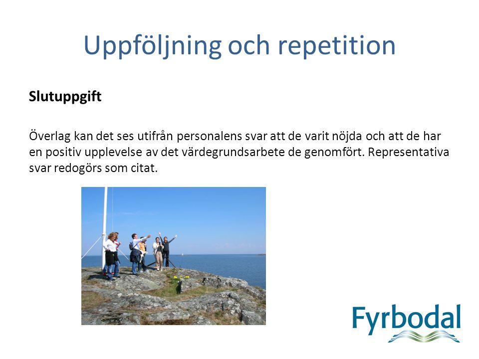 Uppföljning och repetition Slutuppgift Överlag kan det ses utifrån personalens svar att de varit nöjda och att de har en positiv upplevelse av det vär