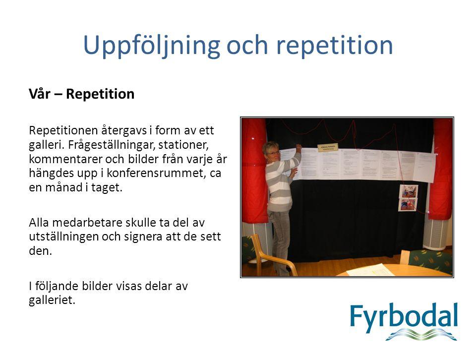 Uppföljning och repetition Vår – Repetition Repetitionen återgavs i form av ett galleri. Frågeställningar, stationer, kommentarer och bilder från varj