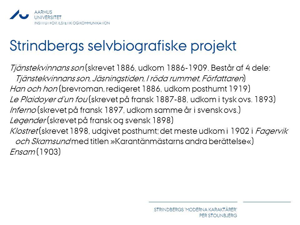 AARHUS UNIVERSITET INSTITUT FOR ÆSTETIK OG KOMMUNIKATION STRINDBERGS MODERNA KARAKTÄRER PER STOUNBJERG Strindbergs selvbiografiske projekt Tjänstekvinnans son (skrevet 1886, udkom 1886-1909.