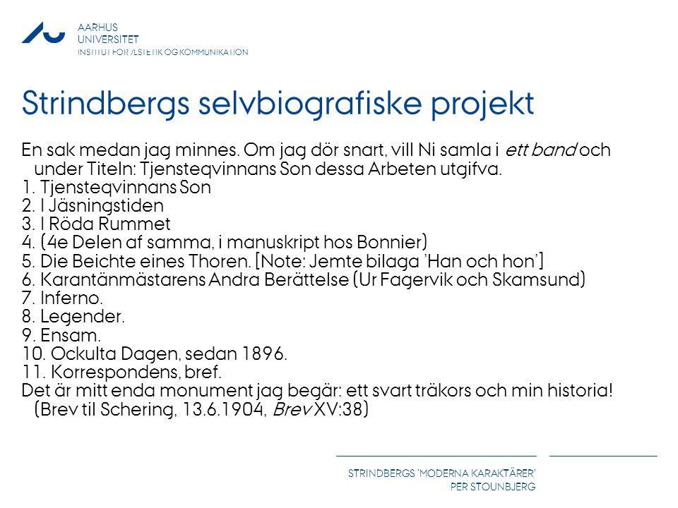 AARHUS UNIVERSITET INSTITUT FOR ÆSTETIK OG KOMMUNIKATION STRINDBERGS MODERNA KARAKTÄRER PER STOUNBJERG Strindbergs selvbiografiske projekt En sak medan jag minnes.