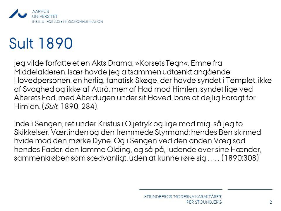 AARHUS UNIVERSITET INSTITUT FOR ÆSTETIK OG KOMMUNIKATION STRINDBERGS MODERNA KARAKTÄRER PER STOUNBJERG2 Sult 1890 jeg vilde forfatte et en Akts Drama, »Korsets Tegn«, Emne fra Middelalderen.