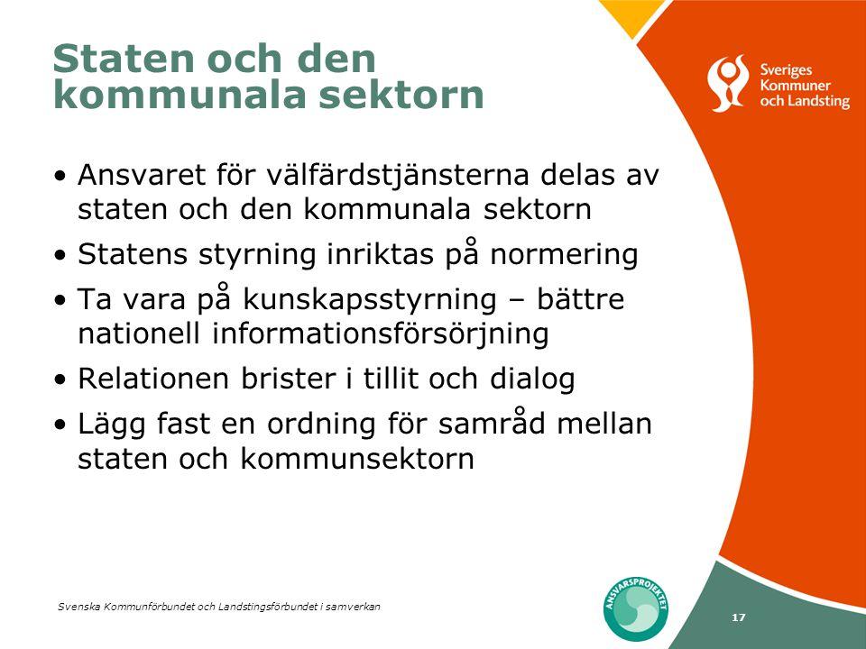 Svenska Kommunförbundet och Landstingsförbundet i samverkan 17 Staten och den kommunala sektorn •Ansvaret för välfärdstjänsterna delas av staten och d