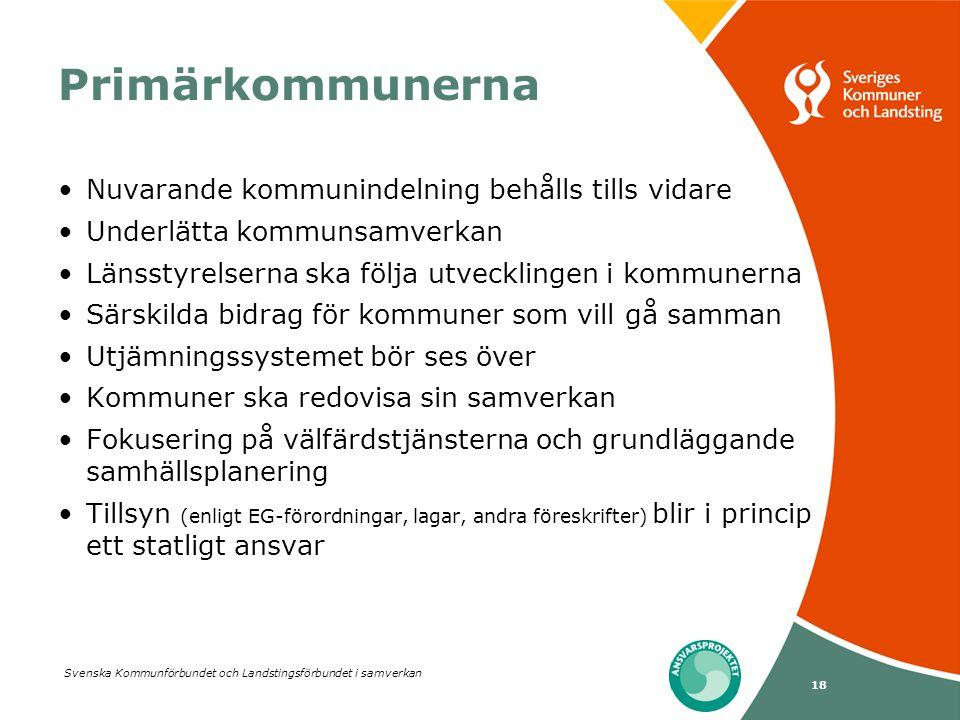 Svenska Kommunförbundet och Landstingsförbundet i samverkan 18 Primärkommunerna •Nuvarande kommunindelning behålls tills vidare •Underlätta kommunsamv