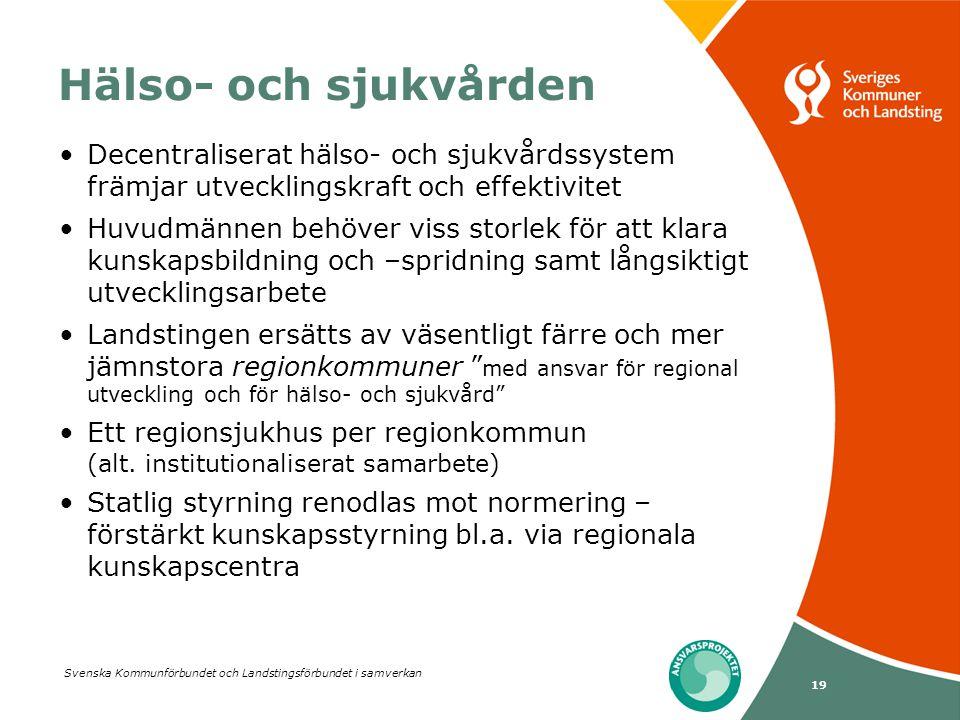 Svenska Kommunförbundet och Landstingsförbundet i samverkan 19 Hälso- och sjukvården •Decentraliserat hälso- och sjukvårdssystem främjar utvecklingskr