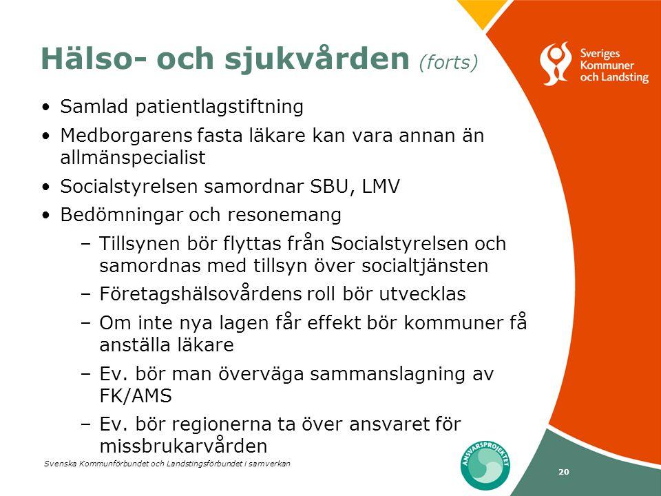 Svenska Kommunförbundet och Landstingsförbundet i samverkan 20 Hälso- och sjukvården (forts) •Samlad patientlagstiftning •Medborgarens fasta läkare ka