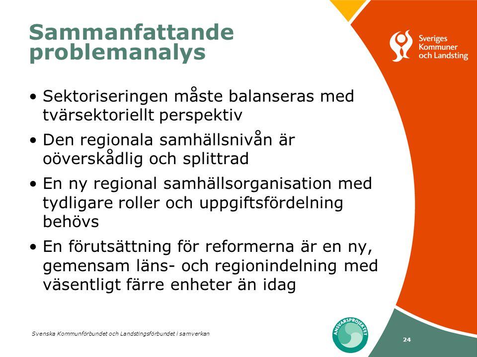 Svenska Kommunförbundet och Landstingsförbundet i samverkan 24 Sammanfattande problemanalys •Sektoriseringen måste balanseras med tvärsektoriellt pers