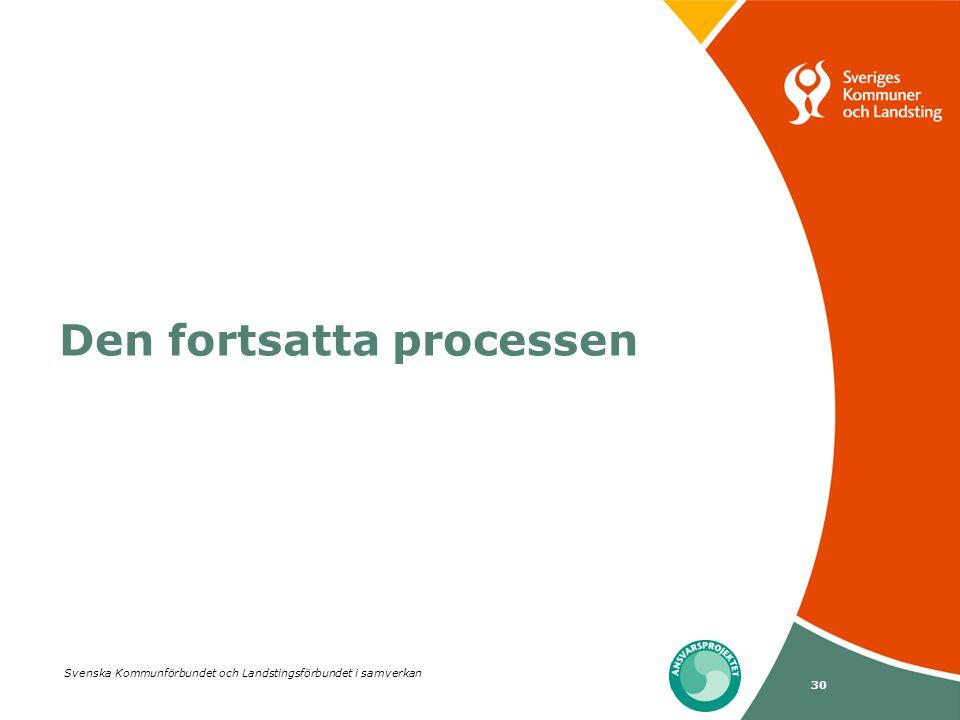 Svenska Kommunförbundet och Landstingsförbundet i samverkan 30 Den fortsatta processen