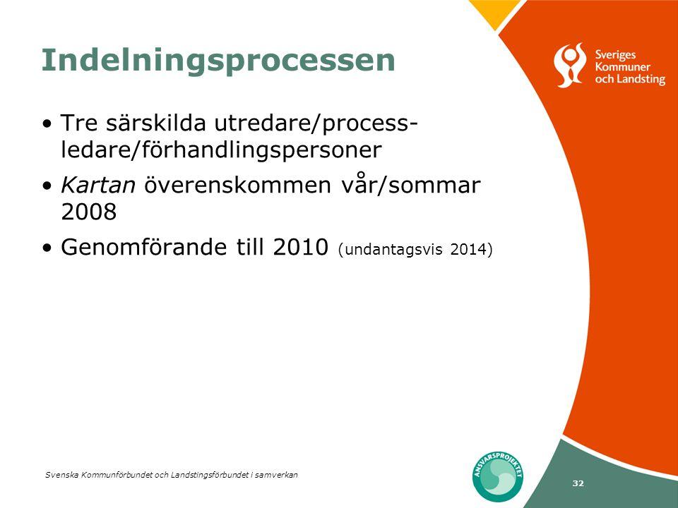 Svenska Kommunförbundet och Landstingsförbundet i samverkan 32 Indelningsprocessen •Tre särskilda utredare/process- ledare/förhandlingspersoner •Karta