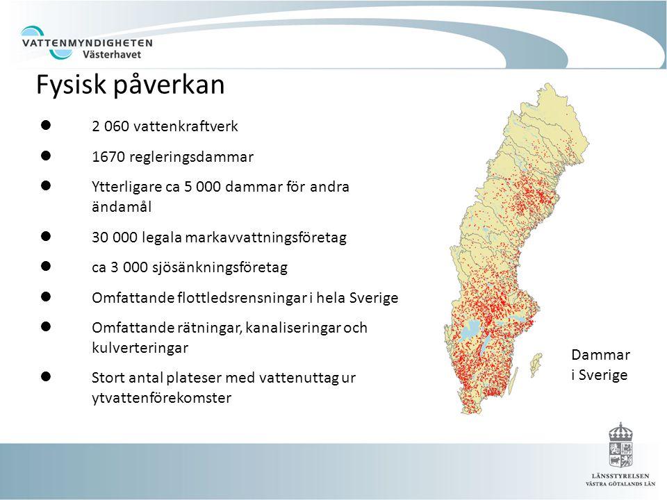  2 060 vattenkraftverk  1670 regleringsdammar  Ytterligare ca 5 000 dammar för andra ändamål  30 000 legala markavvattningsföretag  ca 3 000 sjös