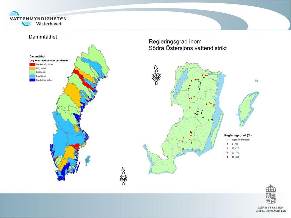 2009-10-26 Över 1200 vattenförekomster med flödesförändringar Över 4 000 vattenförekomster med morfologiska förändringar Över 4000 vattenförekomster med kontinuitetsproblem En rimlig siffra är att 50-60 % av vattenförekomsterna i vattendrag har någon form av fysisk påverkan Obs .