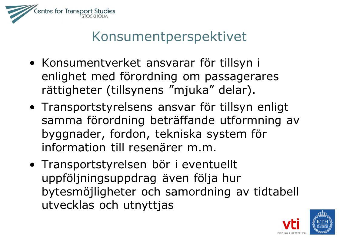 """Konsumentperspektivet •Konsumentverket ansvarar för tillsyn i enlighet med förordning om passagerares rättigheter (tillsynens """"mjuka"""" delar). •Transpo"""