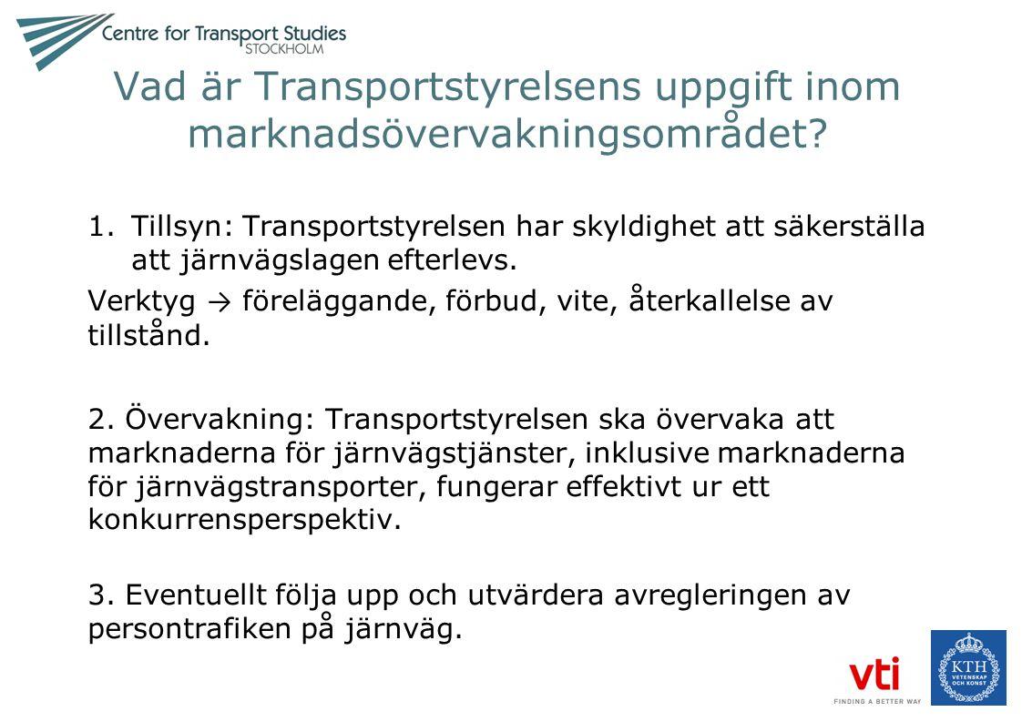 Vad är Transportstyrelsens uppgift inom marknadsövervakningsområdet? 1.Tillsyn: Transportstyrelsen har skyldighet att säkerställa att järnvägslagen ef