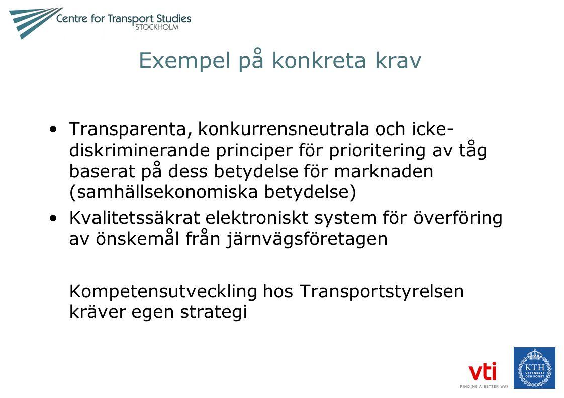 Exempel på konkreta krav •Transparenta, konkurrensneutrala och icke- diskriminerande principer för prioritering av tåg baserat på dess betydelse för m