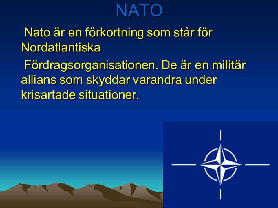 NATO Nato är en förkortning som står för Nordatlantiska Fördragsorganisationen. De är en militär allians som skyddar varandra under krisartade situati