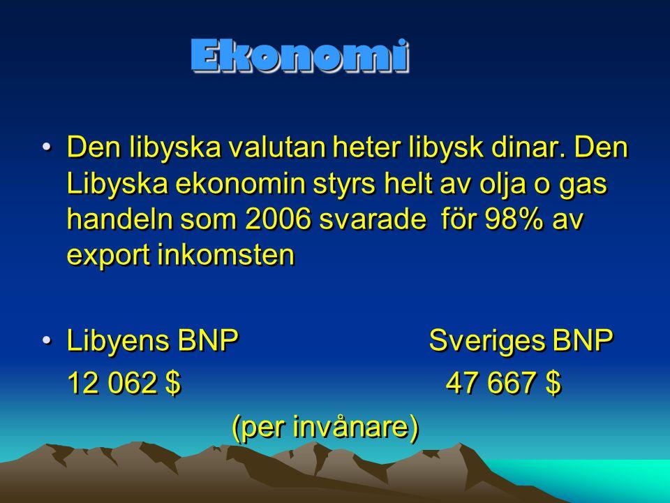 EkonomiEkonomi •Den libyska valutan heter libysk dinar. Den Libyska ekonomin styrs helt av olja o gas handeln som 2006 svarade för 98% av export inkom