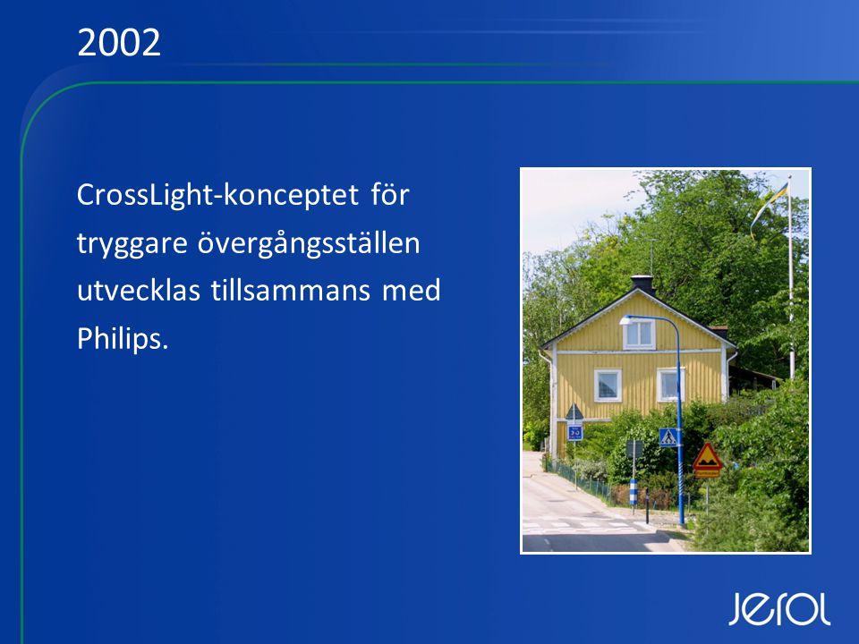 CrossLight-konceptet för tryggare övergångsställen utvecklas tillsammans med Philips. 2002
