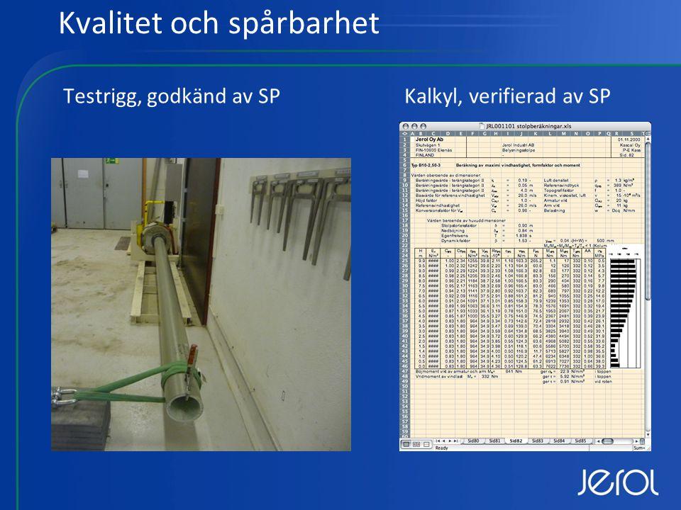 Kvalitet och spårbarhet Testrigg, godkänd av SPKalkyl, verifierad av SP