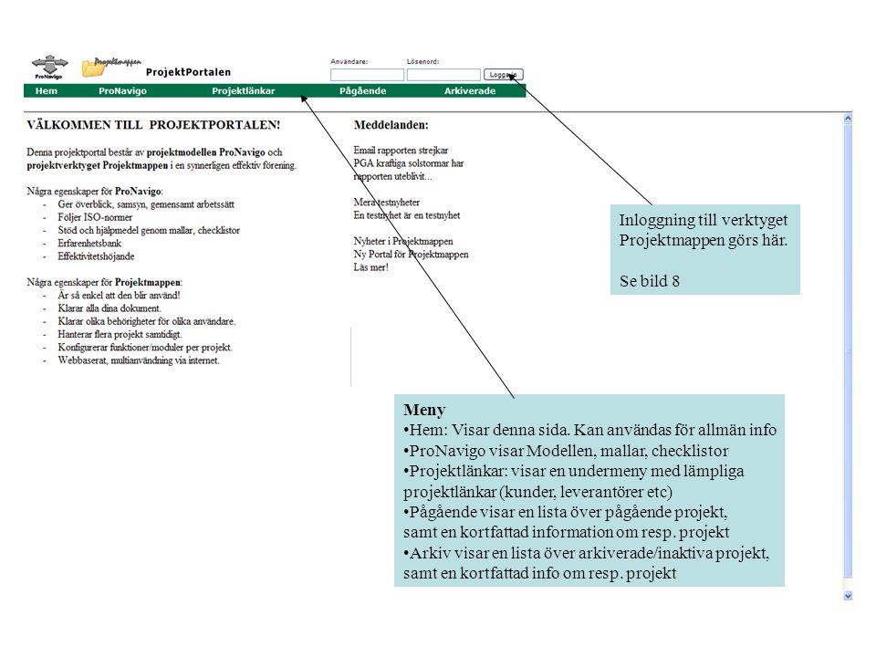 Meny •Hem: Visar denna sida. Kan användas för allmän info •ProNavigo visar Modellen, mallar, checklistor •Projektlänkar: visar en undermeny med lämpli