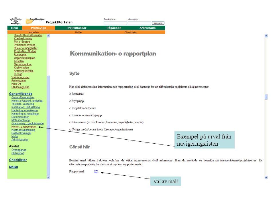 Exempel på urval från navigeringslisten Val av mall