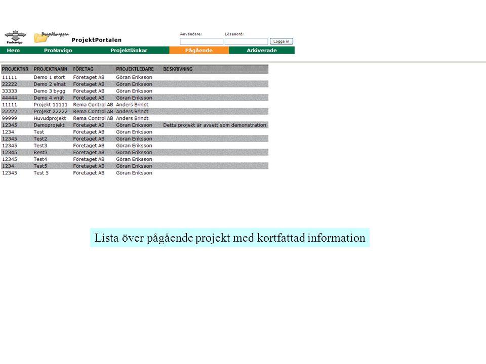 Lista över pågående projekt med kortfattad information
